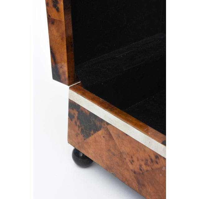 Maitland Smith Tessellated Tortoise Shell, Wood and Chrome Hinged Box For Sale In Miami - Image 6 of 10