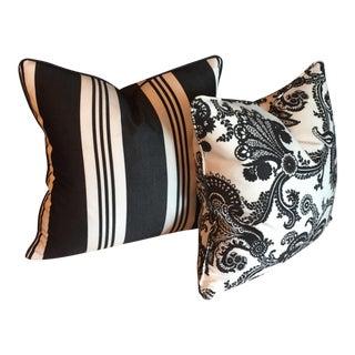 Black & White Floral Striped Pillows - A Pair