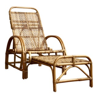 Vintage Mid Century Modern Bamboo Rattan Pretzel Arm Wicker Lounge/Chair & Ottoman For Sale