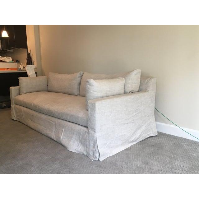 Restoration Hardware Belgian Linen Sofa - Image 3 of 4