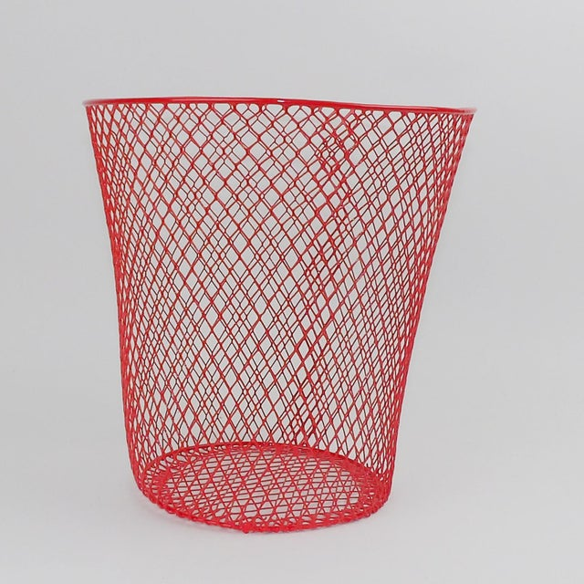 Vintage Mid-Century Modern Red Wire Metal Waste Bucket - Image 3 of 11