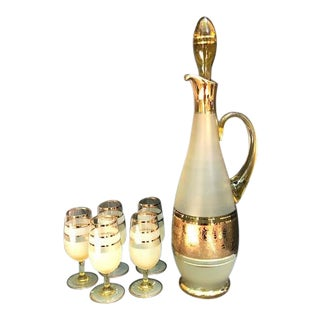 Gold-Plated Satin Glass Decanter and Aperitif Glasses Set - Set of 6 For Sale