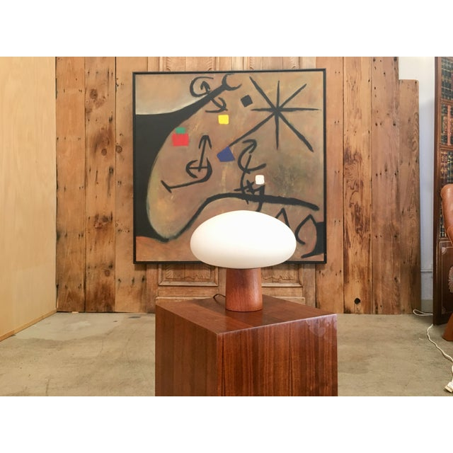Mid-Century Modern Mid-Century Modern Mushroom Lamp Frosted Glass With Teak Base For Sale - Image 3 of 6