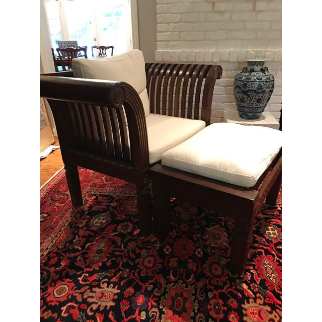 Hand-Carved Mahogany Wood Chair & Ottoman - A Pair - Image 4 of 10