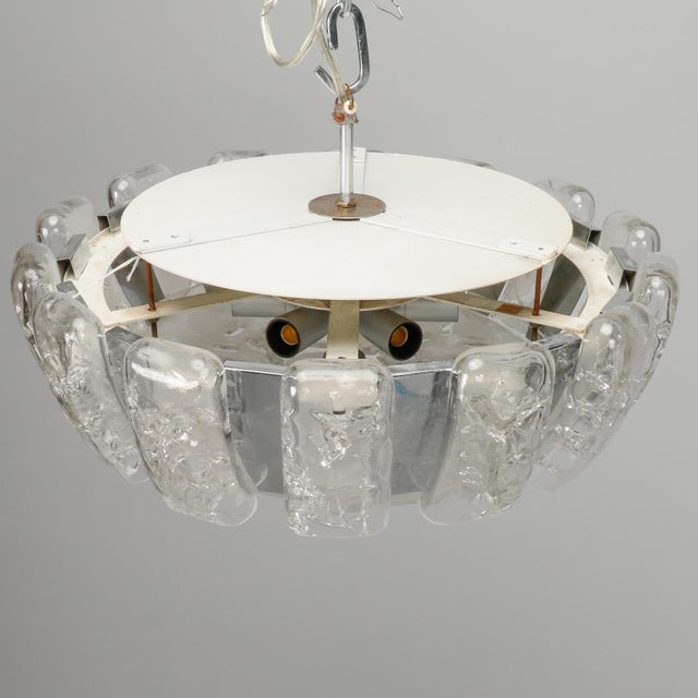 1970s Kalmar Mid Century Icicle Glass Flush Mount Fixture For Sale - Image 5 of 9
