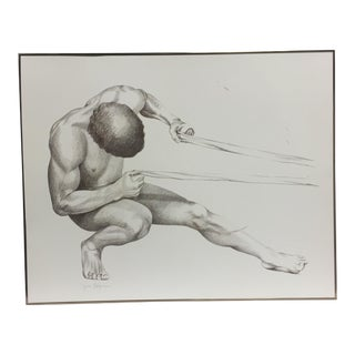 """""""Image and Destiny 1"""" Contemporary Figurative Male Nude Drawing by Lynne Kagan-Prismacolor, Framed For Sale"""