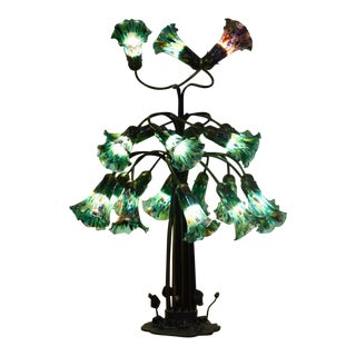 Tiffany Style 19 Light Table Lamp For Sale