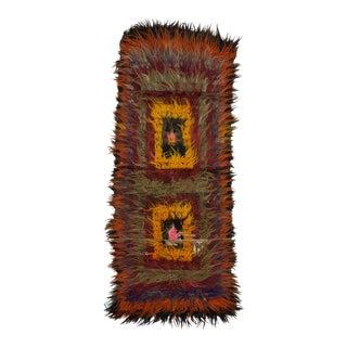 Vintage Turkish Shaggy Tulu Rug - 3′2″ × 8′2″ For Sale