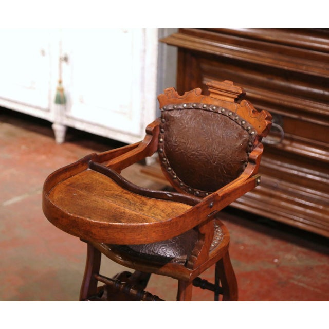 19th Century English Carved Walnut and Leather Adjustable High Chair Rocker For Sale - Image 4 of 13