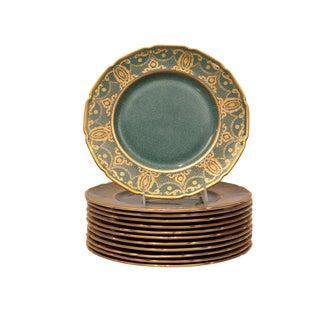 English Royal Doulton Jade Porcelain Plates - Set of 12 For Sale