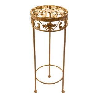 Vintage Mini Round Plant Stand For Sale