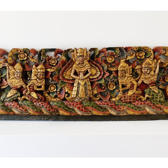 Vintage Thai wood carving wall art depicted angels, dragons and gold peacocks, circa 1990's in excellent condition....