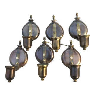1930s Art Deco Solid Brass Globe Wall Sconces - Set of 6 For Sale