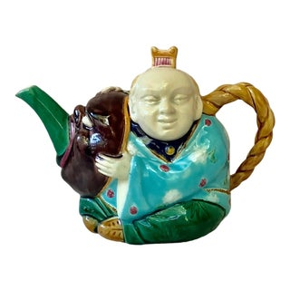 19th-Century Majolica Minton Chinaman Figural Teapot For Sale