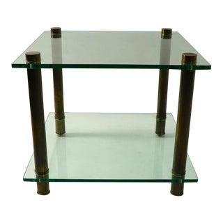 1960s Square Two Tier Glass and Brass End Table For Sale