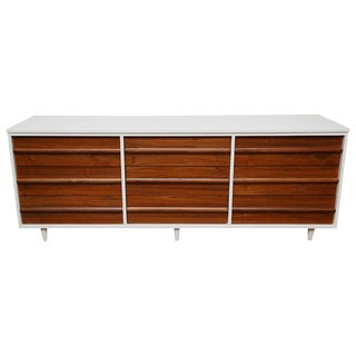 Vic Art Credenza in Natural and White Lacquer, 1960s, Usa For Sale