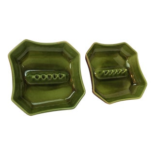 Vintage Ceramic Green Faux Wood Ashtrays - a Pair