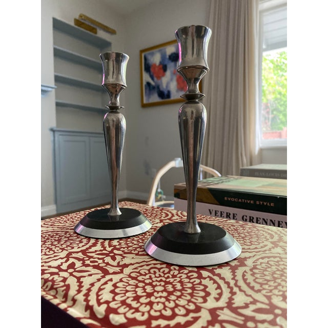 1960s Mid-Century Metal and Stone Candlesticks - a Pair For Sale - Image 5 of 9