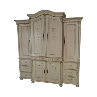 Cottage Style Custom Painted Large Bedroom Armoire For Sale