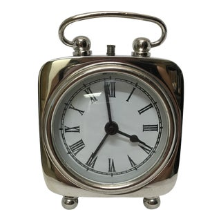 Mid 20th Century Silver Plate Bedside Alarm Clock For Sale