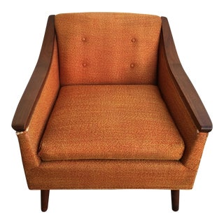 Vintage Mid Century Modern Orange Fabric Side Arm Chair For Sale