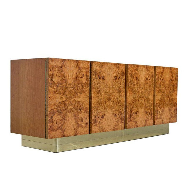 Milo Baughman Style China Hutch Cabinet Burl and Brass Hollywood Regency by Lane For Sale In Tampa - Image 6 of 11