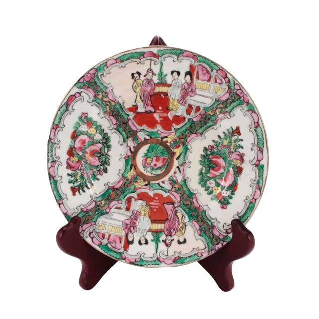 1970s Chinese Porcelain Famille Rose Medallion Dishes, Service for 7 For Sale - Image 5 of 10
