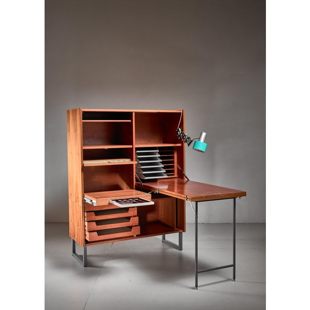 Mid-Century Modern Secretaire with fold out desk, Germany, 1960s For Sale - Image 3 of 6