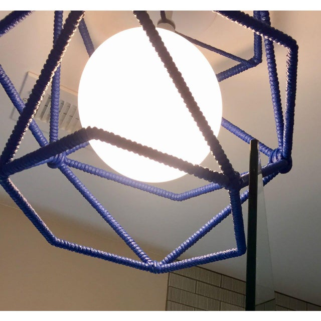 Boho Chic Custom Bone Simple Hexagonal Cage Rope Ceiling Fixture - Cubbies Blue For Sale - Image 3 of 4