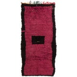 Image of Contemporary Moroccan Pink and Black Pile Rug - 3′4″ × 6′10″ For Sale
