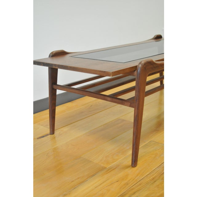 Contemporary 1960s Scandinavian Modern Wood and Glass Coffee Table For Sale - Image 3 of 6