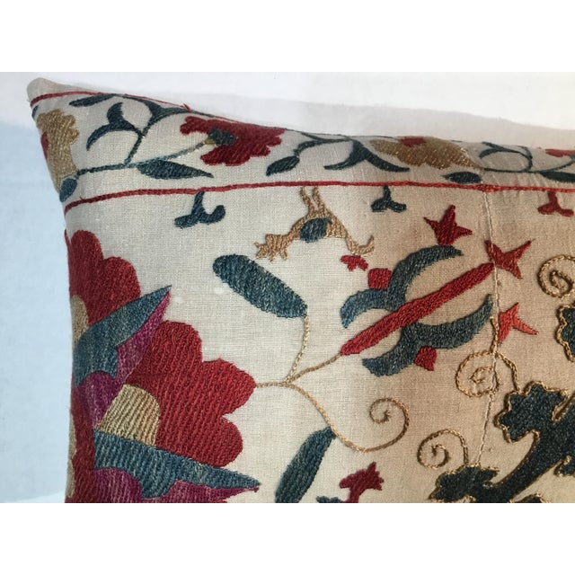 1960s Mediterranean Hand Embroidery Suzani Pillow For Sale - Image 9 of 11