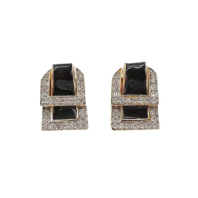 1980s Valentino Black Enamel Buckle Earrings For Sale