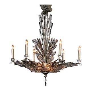 A Chic Art Deco Style 6-Light Chandelier With Radiating Crystal Fronds For Sale