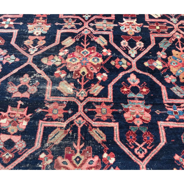 Vintage Design Decorative Blue Background Color Mahal Rug- 9′5″ × 13′5″ For Sale - Image 10 of 13