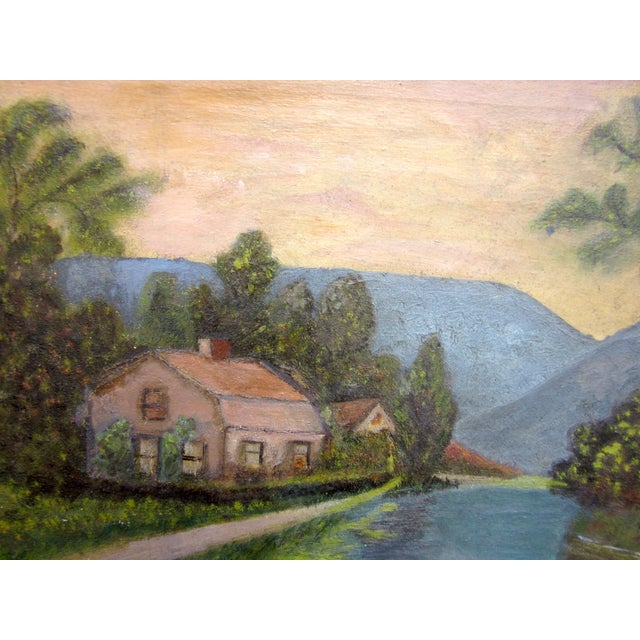 Late 19th Century 19th Century Antique Outsider Art Rural Landscape Oil on Canvas Painting For Sale - Image 5 of 11