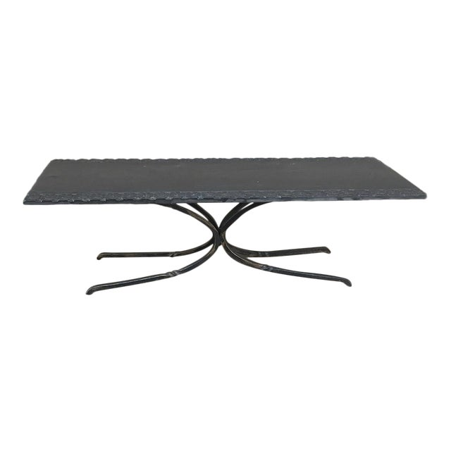 Miraculous Art Deco Wrought Iron Carved Slate Coffee Table Beatyapartments Chair Design Images Beatyapartmentscom