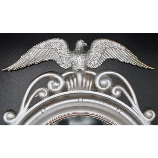 Vintage Silver-Finish Metal Frame Federal Eagle Convex Wall Mirror. This is a stylish mirror that you will love having in...