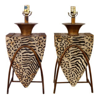 Leeazanne Safari Animal Print Table Lamps on Gilt Iron Bases- a Pair For Sale
