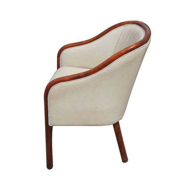 Mid-Century Modern Pair of Ward Bennett for Brickel Leather Arm Chairs For Sale - Image 3 of 6
