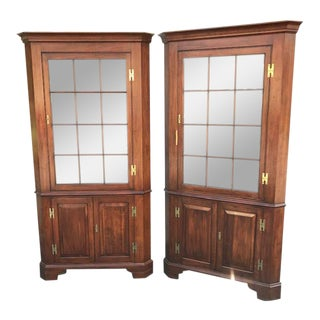 Henkel Harris Virginia Galleries Cherry Chippendale Style Corner Cabinets - a Pair For Sale