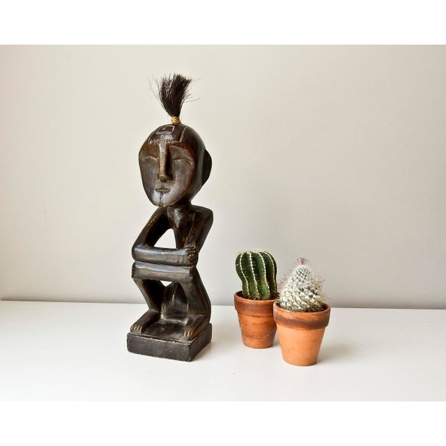 African Hand Carved Wood Man Figure - Image 2 of 6