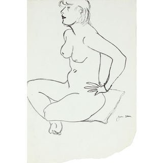 20th Century Sketch of a Seated Woman on Pillow in Ink For Sale