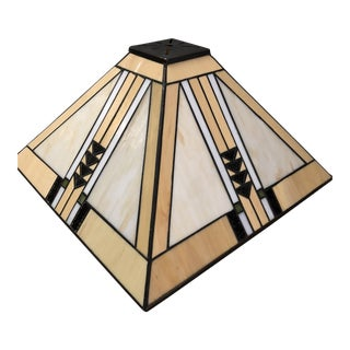 Prairie Art Deco Stained Glass Lamp Shade For Sale