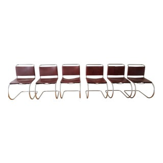 Mies Van Der Rohe Mr Knoll Style Burgundy Leather Hoop Chairs - Set of 6 For Sale