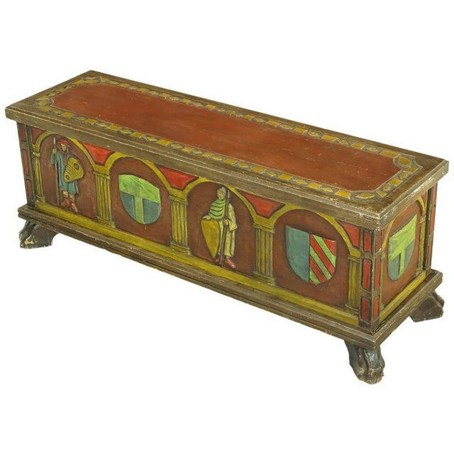Artes De Mexico hand-painted blanket chest or trunk. Spanish Revival themes of familial crests and warriors are carved...