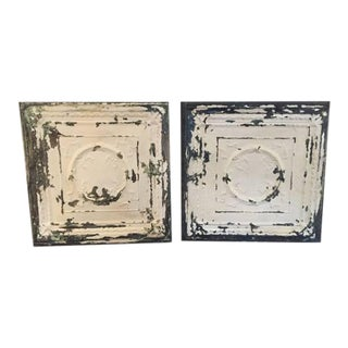 Antique Tin Ceiling Tiles - A Pair