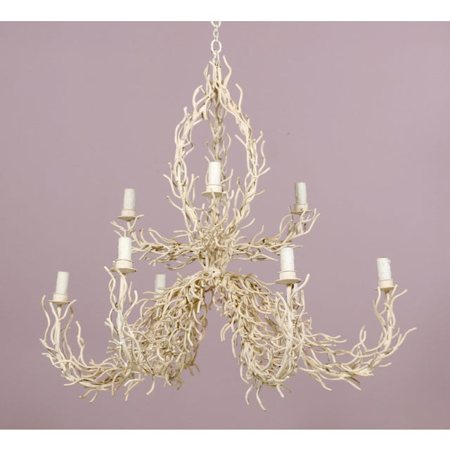 1980s Two Tier Faux Off-White Coral Chandelier For Sale In Los Angeles - Image 6 of 6