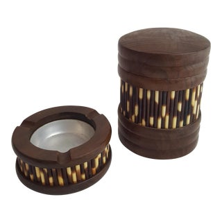 Porcupine Quill Ashtray & Humidor - A Pair For Sale