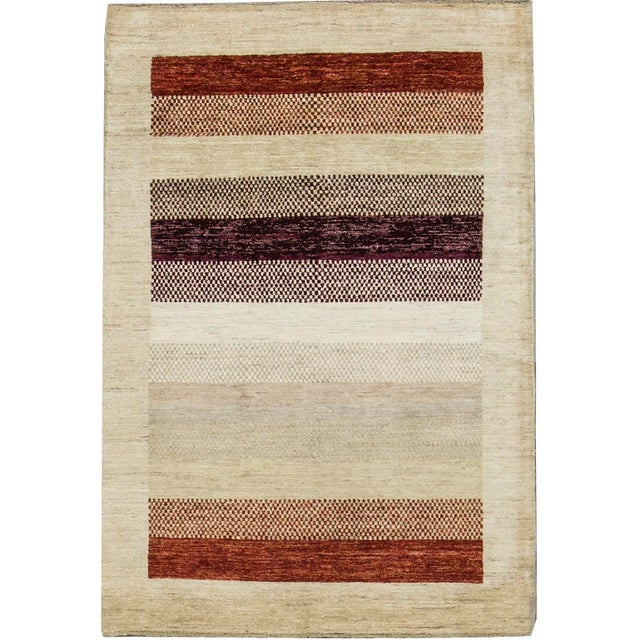 "Contemporary Hand Woven Rug 4'2"" X 6'2"" For Sale - Image 4 of 4"